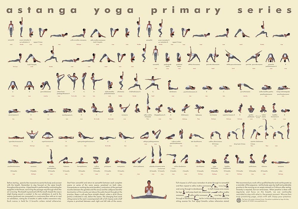 "Ashtanga Yoga Primary Series Sequence Poster Decor 32x24/"""