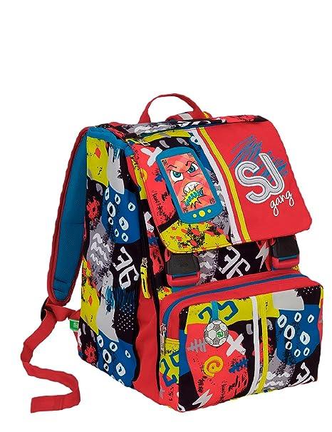 7f11684c78 Zaino scuola sdoppiabile SJ GANG - HIGH TECH - Blu Rosso - INNOVATIVO  sistema regolazione schienale