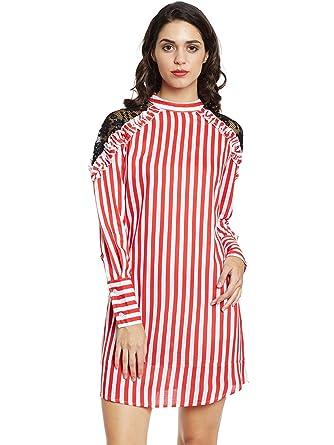4672b2e8c734 The Silhouette Store Women Striped Dress 1968445031 Red Coloured X-Small