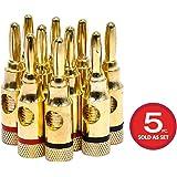 Monoprice High-Quality 24k Gold Plated Speaker Banana Plugs, Open Screw Type (5 Pairs)