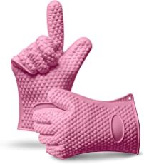 """U Chef Juego / Set de 2 Guantes de Silicona """"V2"""" para Cocina. Perfectos para el Asador para Hornear y Sostener Cualquier Utensilio o Sartén Caliente. Disponibles en color Negro, Rosa, Amarillo, Naranja y Azul. Set of 2 Silicone Cooking Gloves."""