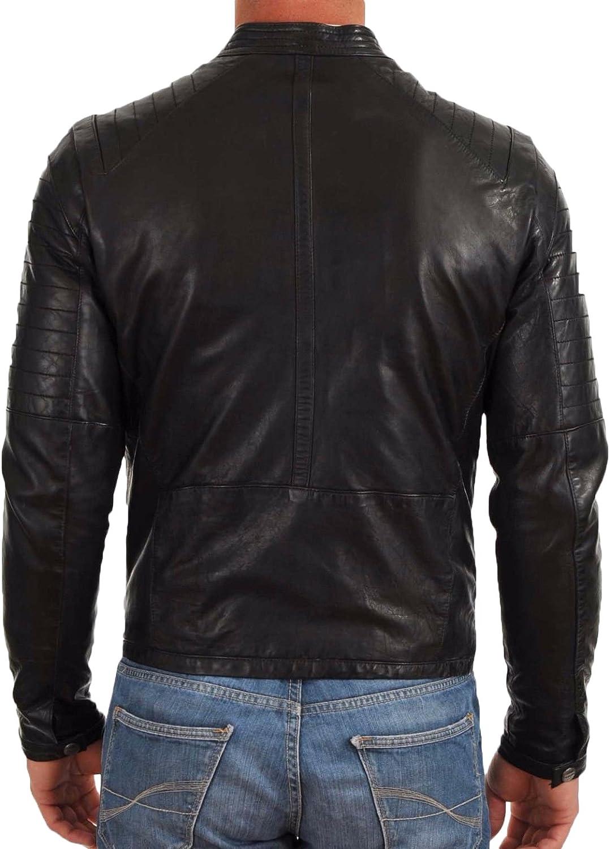 Mens Leather Jacket Slim Fit Biker Motorcycle Genuine Lambskin Jacket Coat T1429