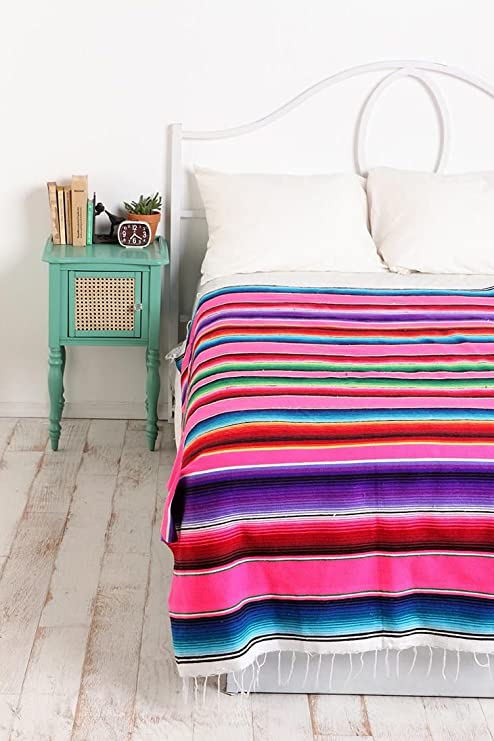 X-Large Authentic Mexican Serape Saltillo Blanket Bed Cover ...