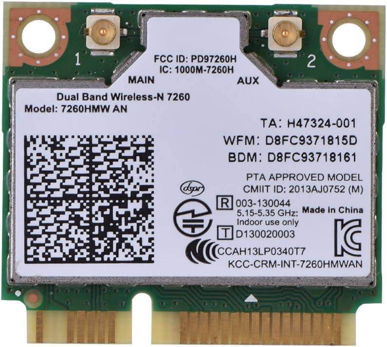fosa 2 en 1 Wifi Tarjeta Wireless Módulo para Intel 7260UN 7260APM con ranura PCI-E, 300Mbps de alta velocidad WIFI Circuito Mainboard Sustitución Intel 7260UN 7260APM Module Board