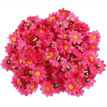 Demarkt 100kunstblumen Künstliche Deko Blumen Gänseblümchen Für Hochzeitsdeko Karten Diy Basteln Haar Bogen Hut Handwerk Rose Rot