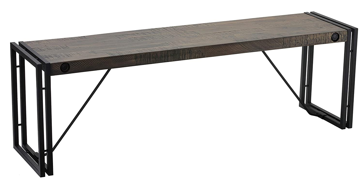 Cortesi Home Thayer Bench, Driftwood with Metal Frame