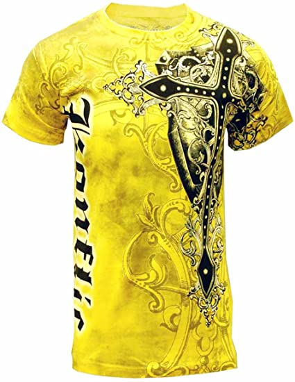df1ef0f5 Amazon.com: Konflic NWT Men's Giant Cross Graphic Designer MMA Muscle T-shirt  Yellow: Clothing