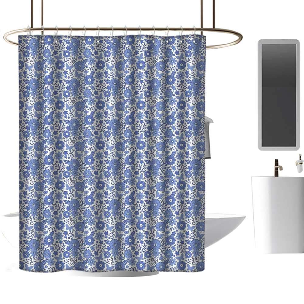 Mannwarehouse Dutch Fabric Shower Curtain Delft Style Flowers in Doodle Style Abstract Petals Leaves Butterflies Modern Shower Curtain W72 xL84