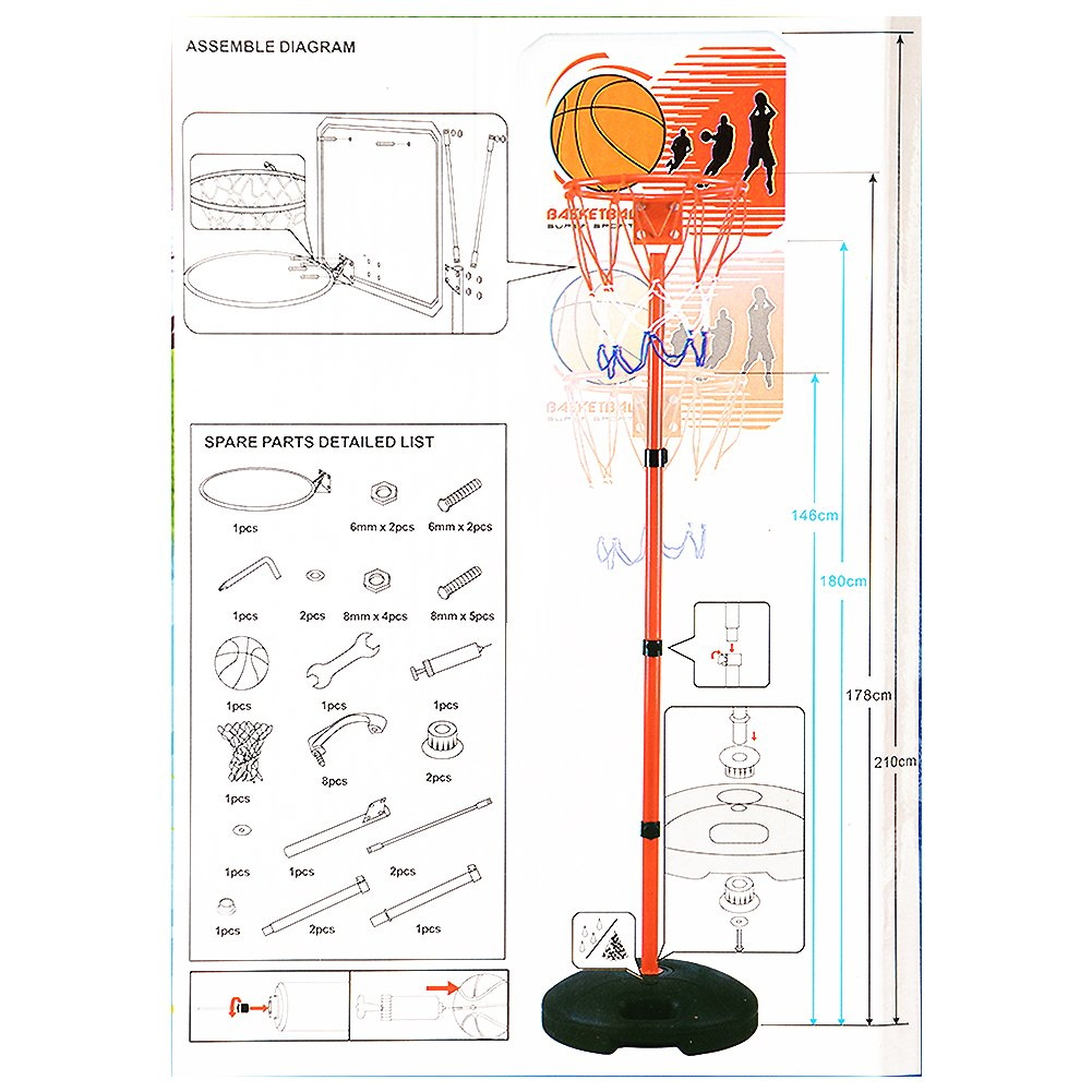Thinkmax Children Portable Basketball Hoop Stand Diagram Backboard Sports Toys 83 Inch Outdoors