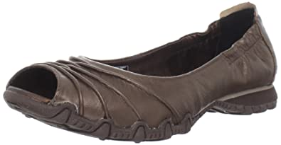 f43f49e44856 Skechers USA Bikers-Scrunchy Womens Bronze Open Toe Leather Flats Shoes UK  3.5