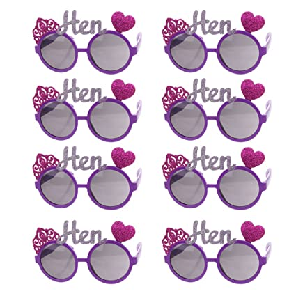 eb8bc43547 P Prettyia Pack of 8pcs Unisex Adults Funny Crown Heart Hen Sunglasses  Goggles Girls Night out Eye Glasses Supplies  Amazon.co.uk  Toys   Games