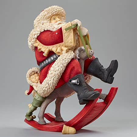 Enesco Heart of Christmas Santa on Rocking Reindeer Figurine, 8.07-Inch