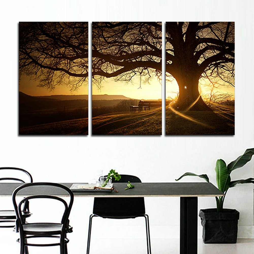 unframed FCR0436 inch X20 inch/… No Frame hcozy H.Cozy 3 Zhang Printed Canvas Modern Painting Tree Image Sunset Canvas Wall Art Home Decoration The Living Room
