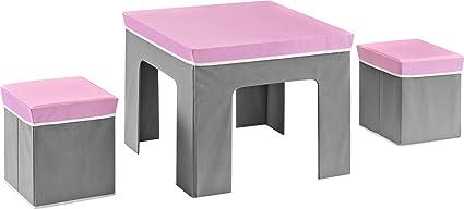 Cosco Jamie Folding Kids\u0027 Table and Ottoman Set Pink/Gray  sc 1 st  Amazon.com & Amazon.com: Cosco Jamie Folding Kids\u0027 Table and Ottoman Set Pink ...
