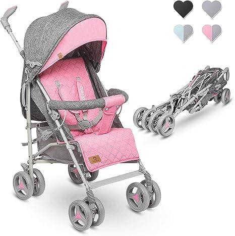 Opinión sobre Lionelo Irma Silla de paseo plegable 51 x 80 x 101 cm Diseño ultraligero 7 kg Respaldo ajustable Para niños de hasta 15 kg 6-36M Cinturones de seguridad de 5 puntos Cesta de la compra Gris y rosa