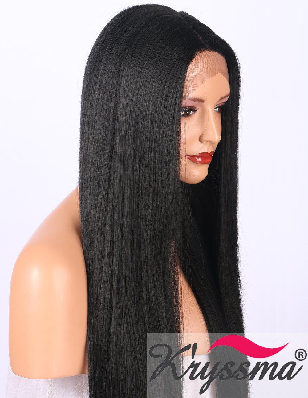 Peluca Kryssma Yaki frontal para mujer color negro de aspecto natural; peluca sintética separado profundo de cabello largo lacio atada a media mano, ...