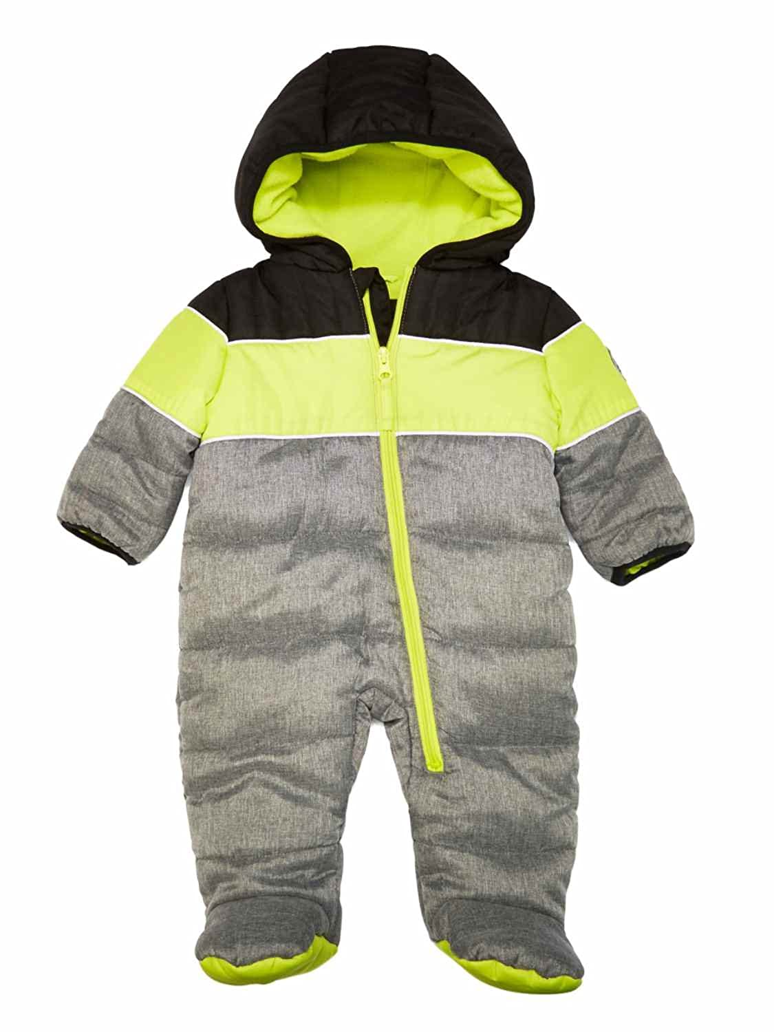 4585a4905 Amazon.com  Weatherproof Infant Boys Quilted Gray Snowsuit Bunting ...