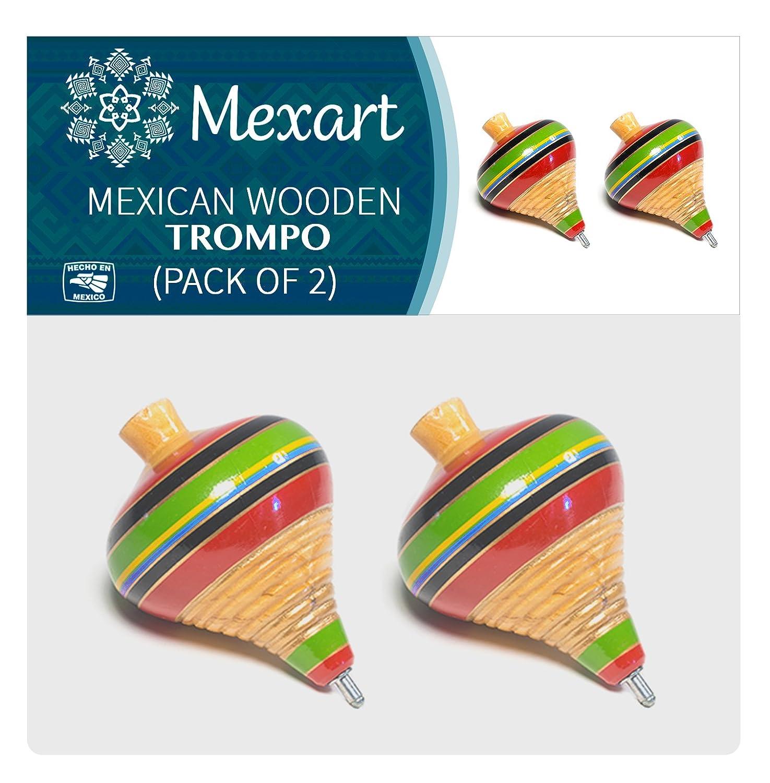 Mexican Classic Mesquite Wood Spininng Trompo Trompo de Madera de Mezquite