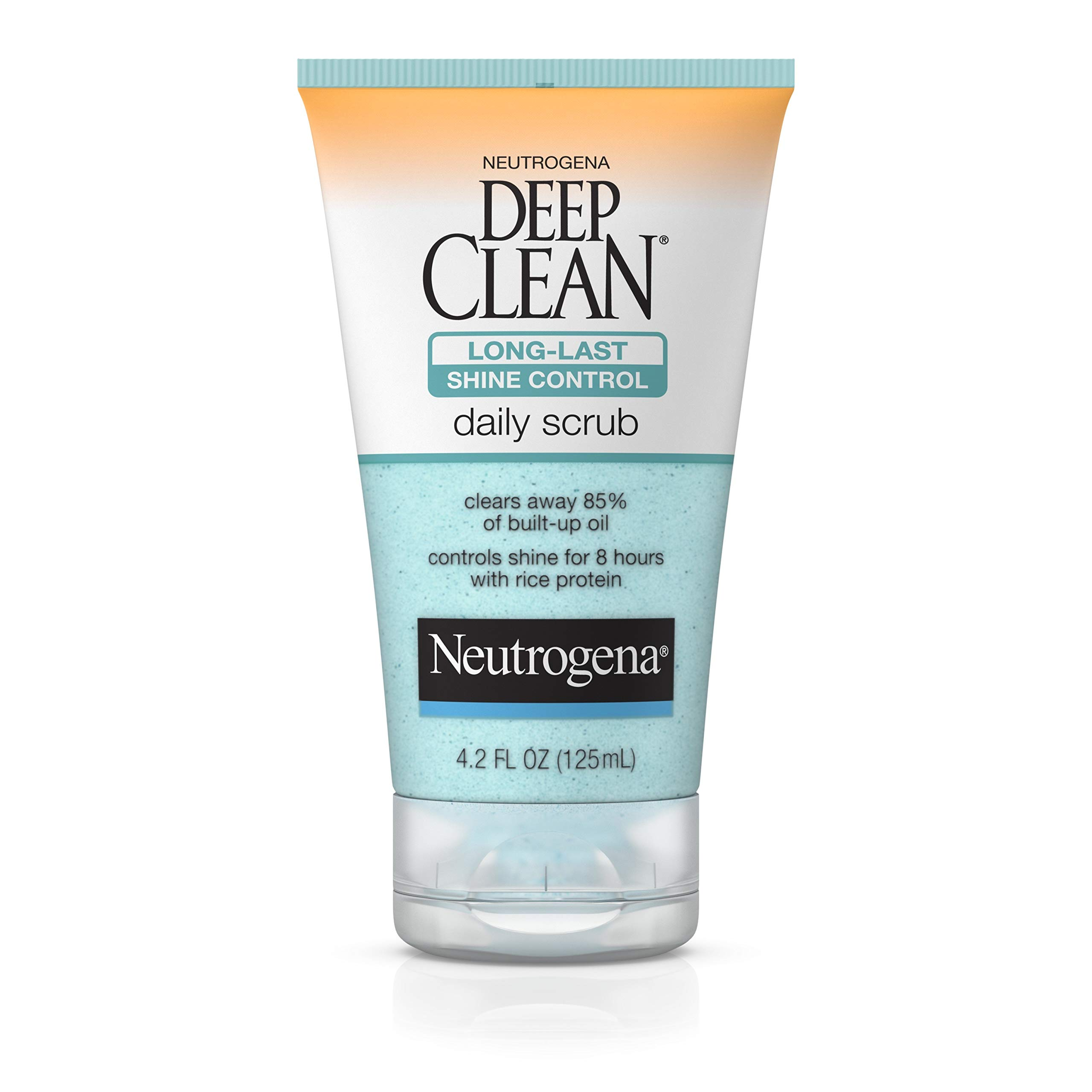 Neutrogena Deep Clean Long-Last Shine Control Daily Exfoliating Facial Scrub with Rice Protein to Combat Oil and Control Shine, Oil-Free, 4.2 fl. oz by Neutrogena