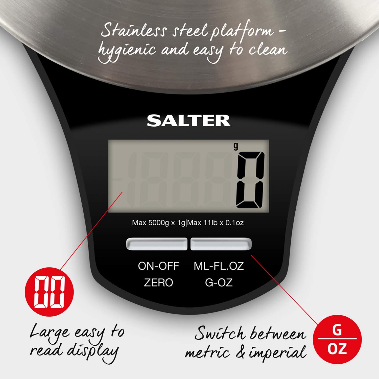 Funci/ón de A/ñadir y Pesar Negro Salter B/áscula de Cocina Digital de Acero Inoxidable Capacidad 5kg