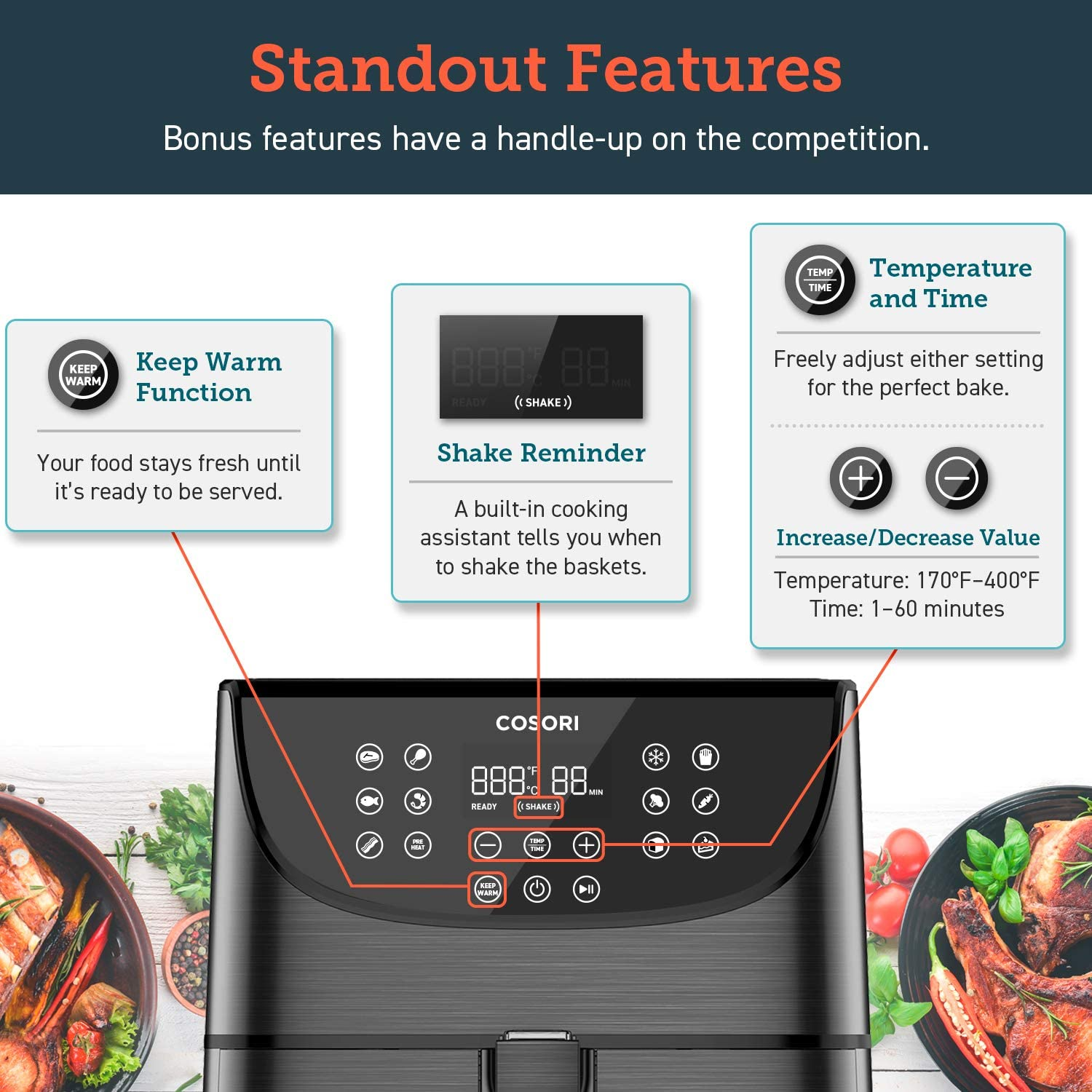 COSORI 5.8QT Electric Hot Air Fryers Oven - Standout features