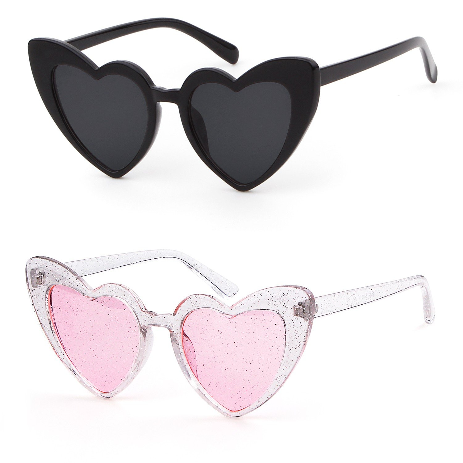 Clout Goggle Heart Sunglasses Vintage Cat Eye Mod Style Retro Kurt Cobain Glasses (Black&Transparent Pink, 50)
