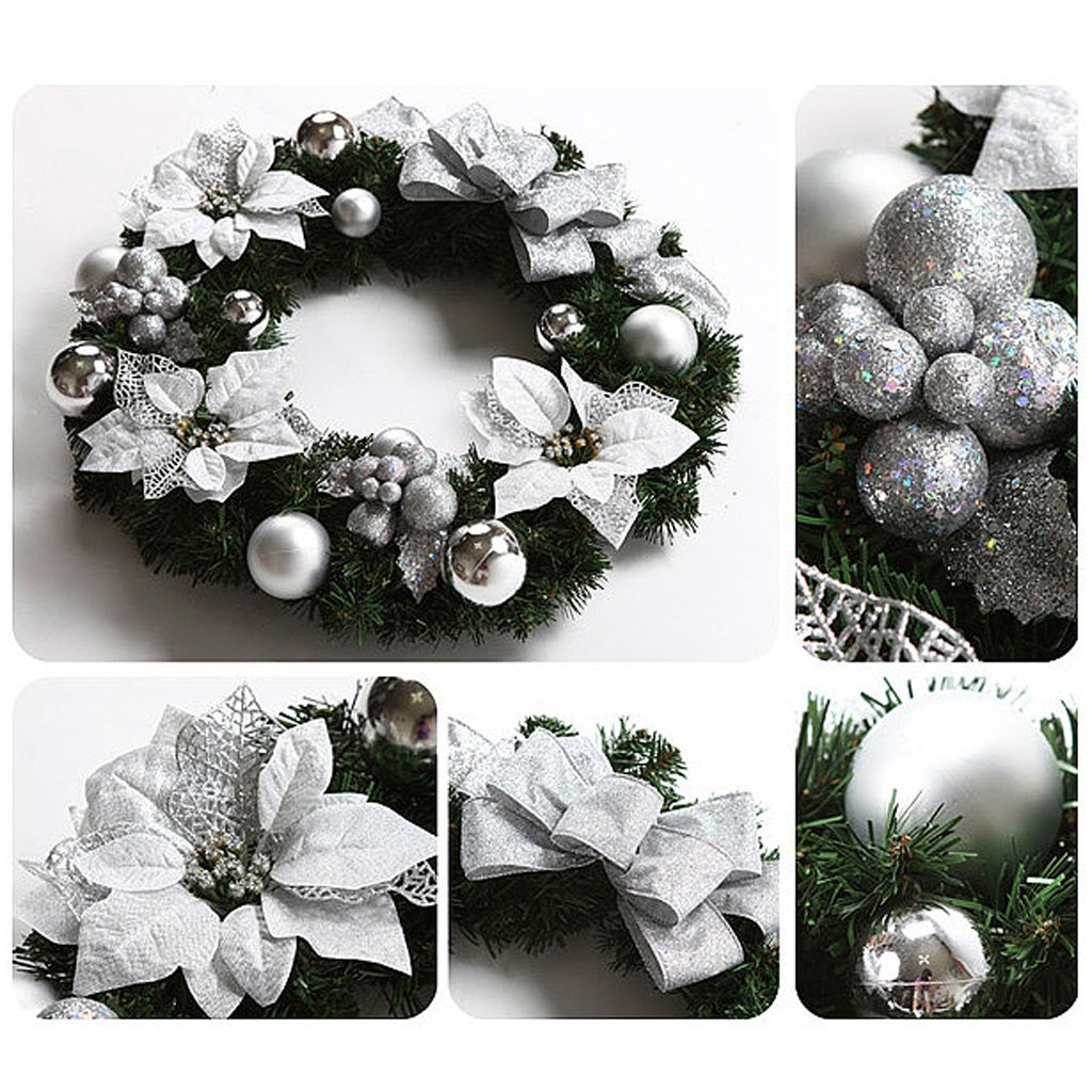 Christmas wreaths door bowknot decoration hotel mall ornaments ( Color : Silver , Size : 40cm ) by LI SHI XIANG SHOP (Image #2)