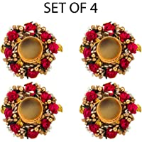 Sanvatsar Home Decorative Diya Set of 4 | Corporate Gift, Diwali Gift Diya,Deepak, Candles, Year Gift, Christmas Gifts, Home Decoration Light Diya Set of 4(Red Color)