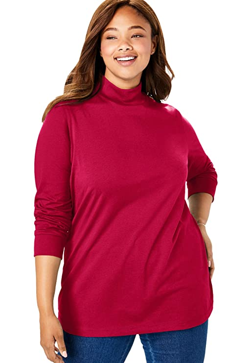 Woman Within Women's Plus Size Perfect Long Sleeve Mock Turtleneck - Classic Red, M best women's turtlenecks