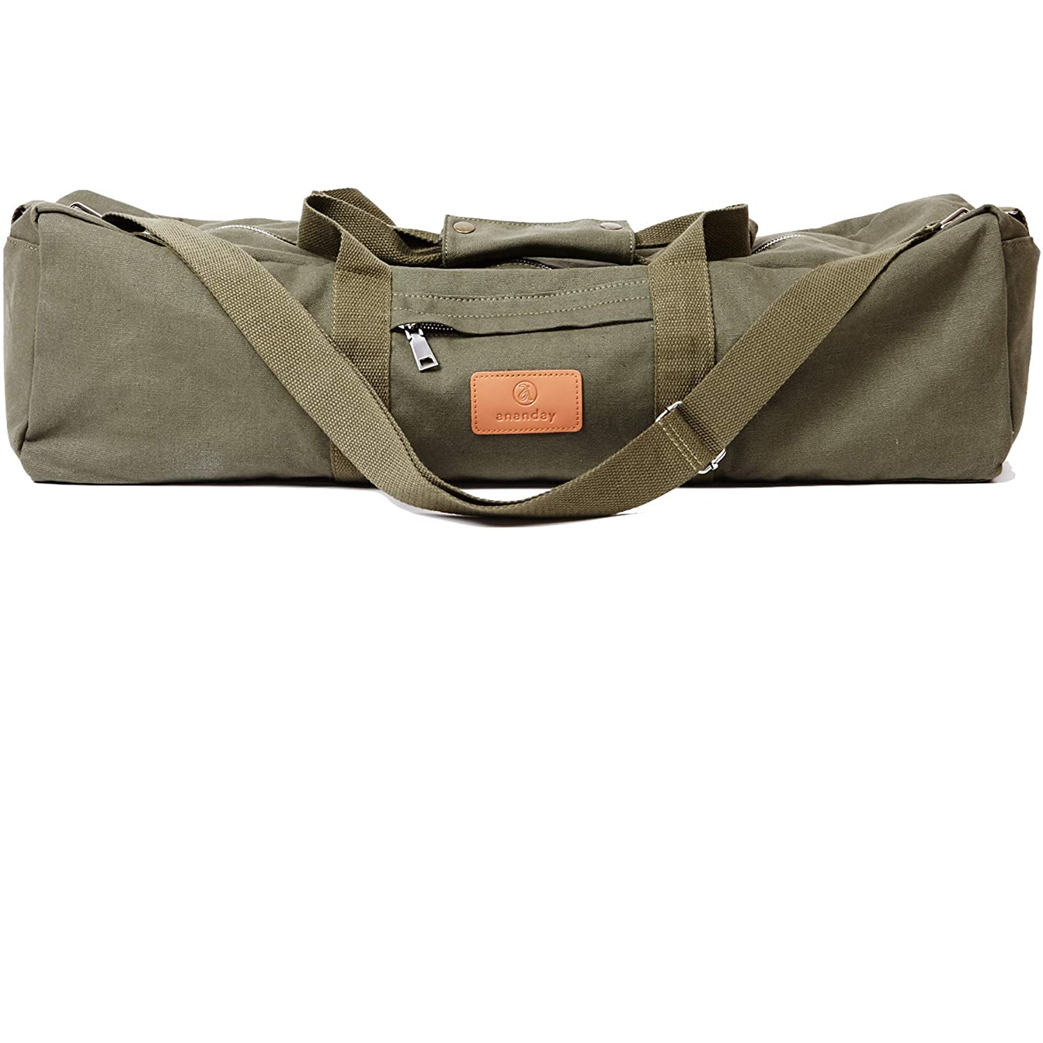 Ananday Extra Large Yoga Mat Duffel Bag with Pockets and Zipper | Natural Cotton Canvas | Adjustable Shoulder Strap | Fits Most Size Mats | Eco-Friendly