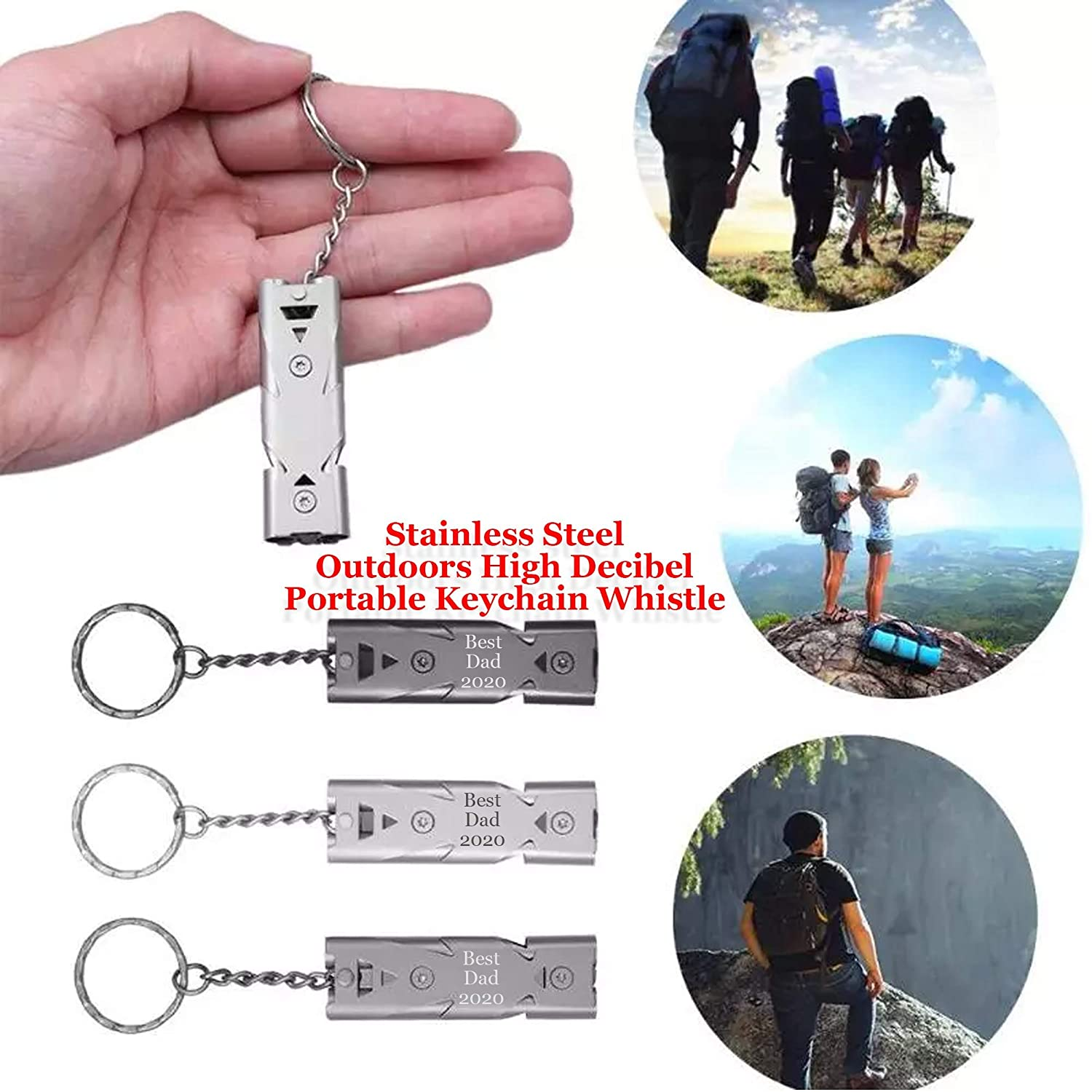 Double Pipe High Decibel Stainless Steel Outdoor Emergency Survival Whistle Keyc