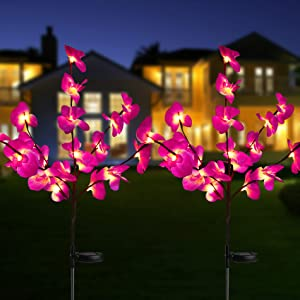 Solar Garden Flower Lights, Upgraded Waterproof Solar Orchid Lights Outdoor with 40 Flower, 2 Mode Decorative Lights Bigger Solar Panel for Patio Yard Patio Pathway Decoration