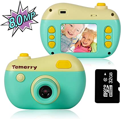 M SANMERSEN Kids Camera Gifts,Kids Digital Camera Rechargeable Shockproof Cameras Mini Child Camcorder Best Birthday Festival Gift for 4-8 Year Old Girls and Boys,Green(32GB Memory Card Included)