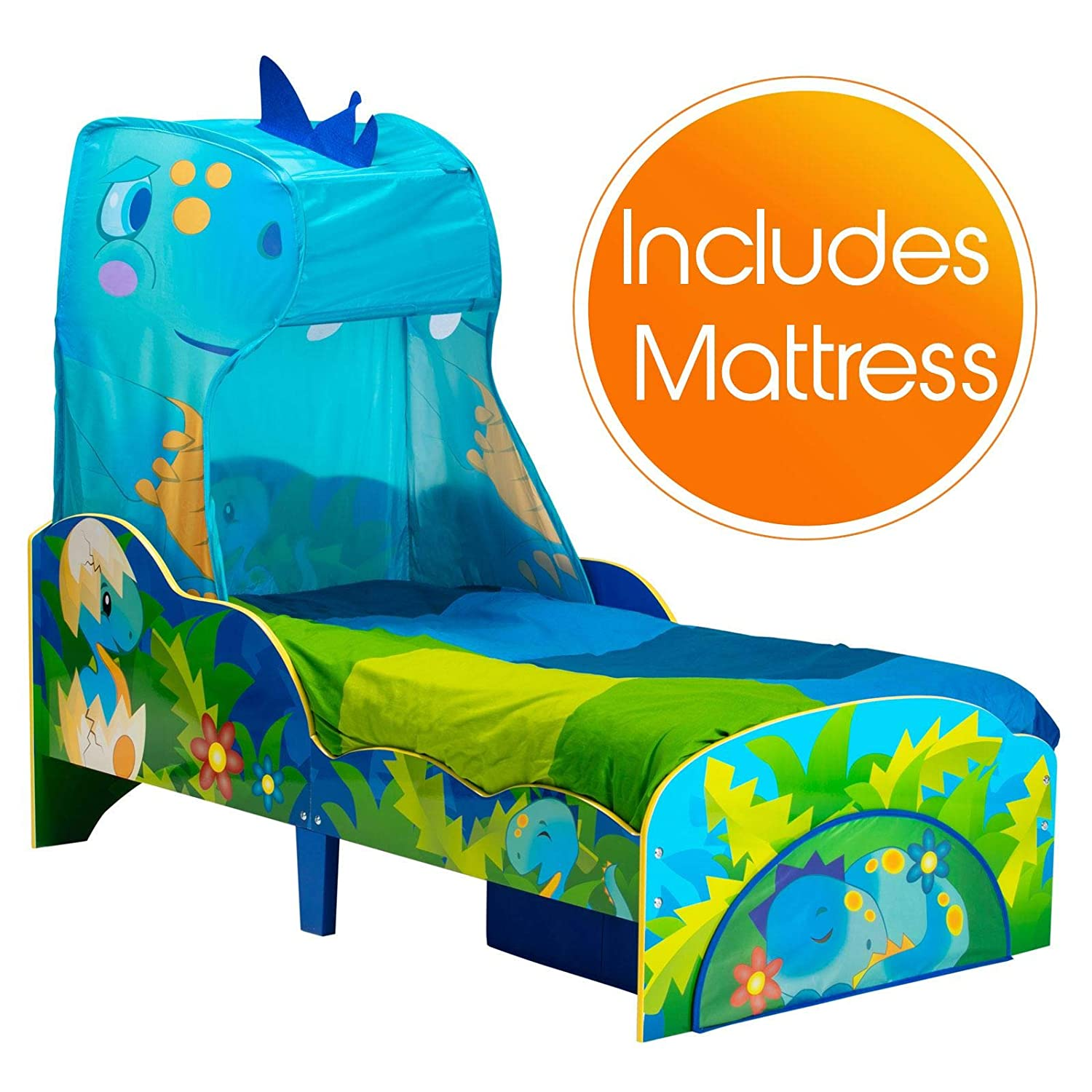 Worlds Apart Dinosaur Toddler Bed with Storage and Canopy plus Foam Mattress