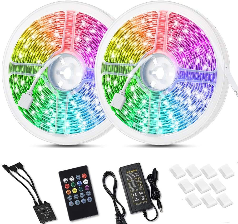 Litake 32.8 ft LED Strip Lights Sound Activated,Music Sync TV Backlights LED Strip Lights ,Waterproof RGB Color Changing LED Strip with 44 Keys Remote for Bedroom Party Home Decoration