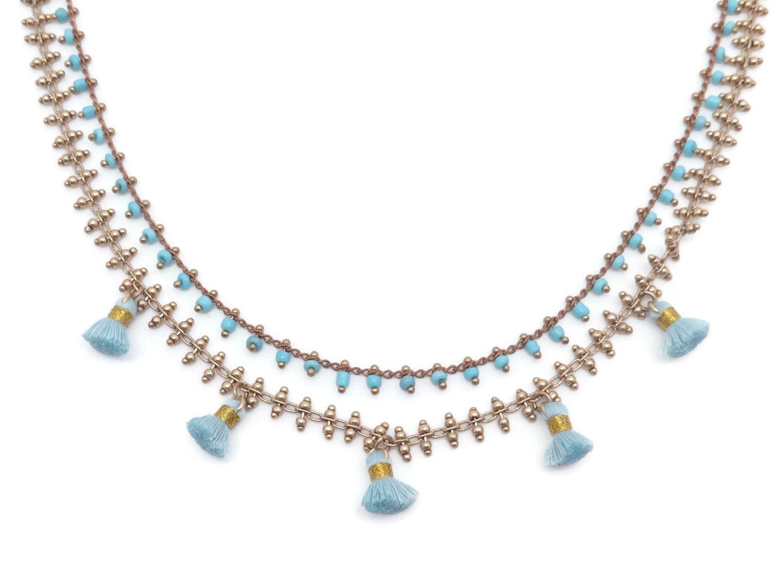 Catherine Popesco Aqua Beaded with Tassel Multi Strand Layered Goldtone Necklace