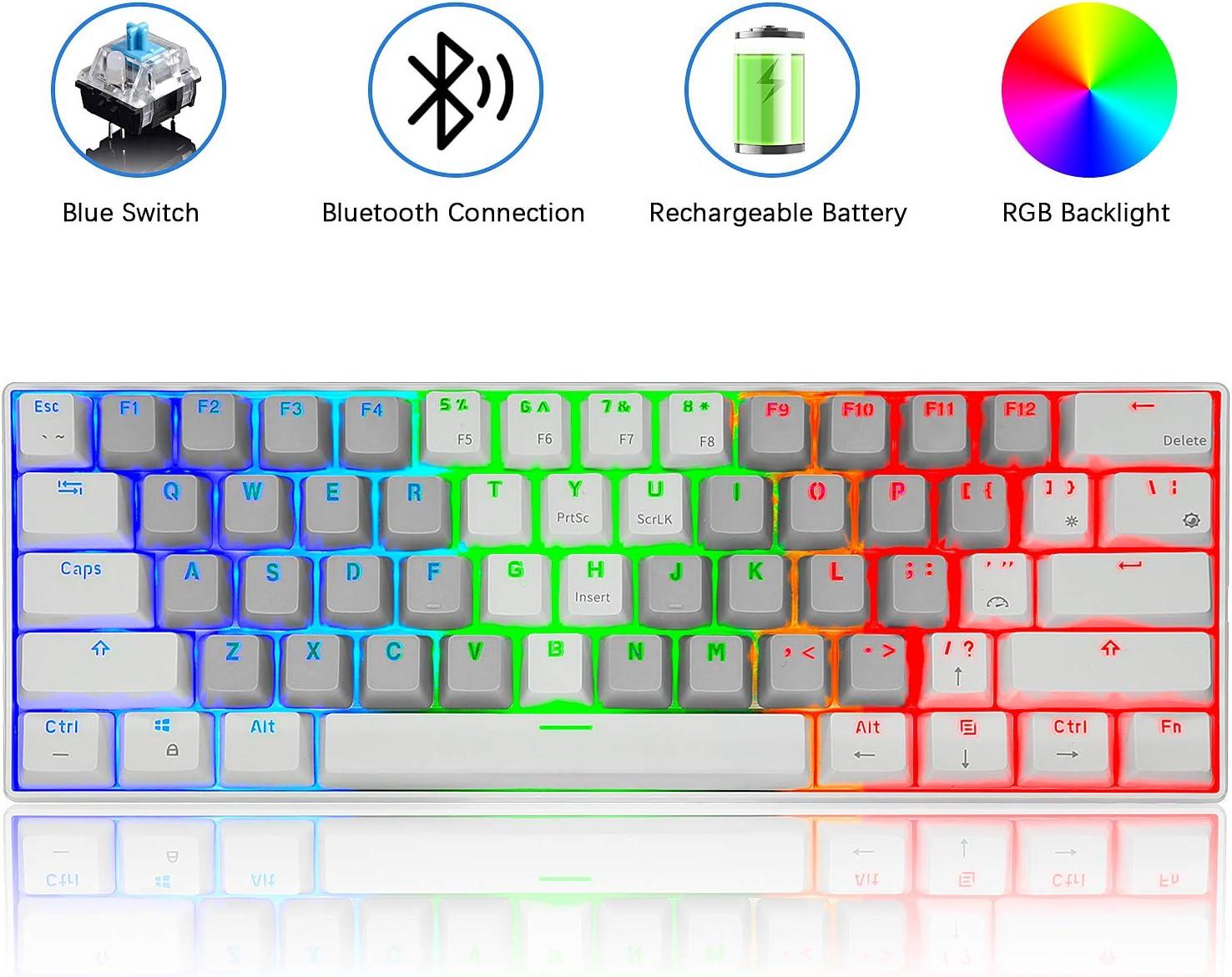 FELiCON RK61 Keys Bluetooth RGB Mechanical Keyboard with Gateron Blue Switch RGB LED Backlit USB Anti Ghosting Compact Design, 60% Key Wireless Keyboard for Mac Windows