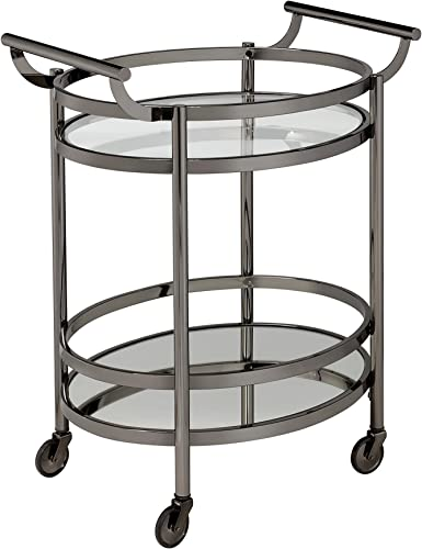 ACME Furniture serving cart, One Size, Black Nickel Clear Glass