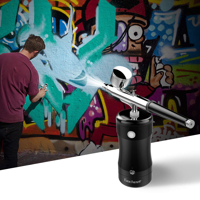Gocheer Mini Compresor de Mano Airbrush Pistola Pulverizadora Pistola Pulverizadora Juego de Compresor de aire Compresor Integrado para Aerografo Lecargable Línea de Carga USB Compacta