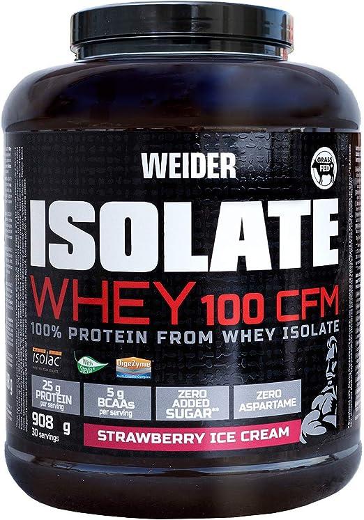 Weider Isolate Whey 100 CFM. Erdbeereis-Geschmack. Proteinpulver mit hochwertiges Molkenproteinisolat. Gut löslich. Bis zu 33g Eiweiß in 1 Portion. ...