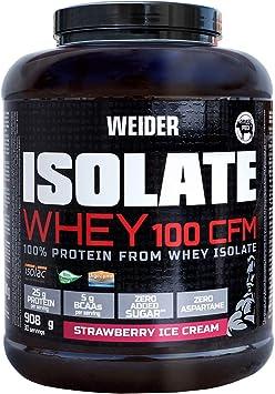 Weider Isolate Whey 100CFM 908gr Sabor Fresa. 100% aislado de proteina de suero. Cero azúcar, cero aspartamo, con stevia, con dygezime, con BCAA, apto ...