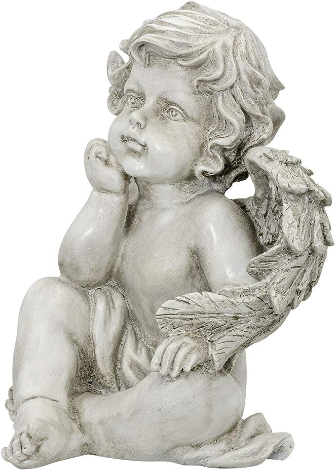 Aubaho /Ángel Sentado Figura de /ángel jard/ín decoraci/ón Piedra Artificial Estilo Antiguo