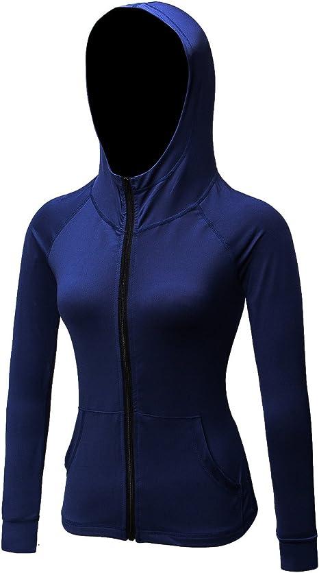 DZRZVD Womens Active Running Yoga Workout Sports Long Sleeve Full-Zip Jacket