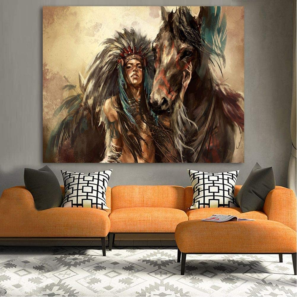 Cuadros de arte de la pared Mujer india Caballo Animales Decoración para el hogar Carteles Hd Lienzo Pintura al óleo