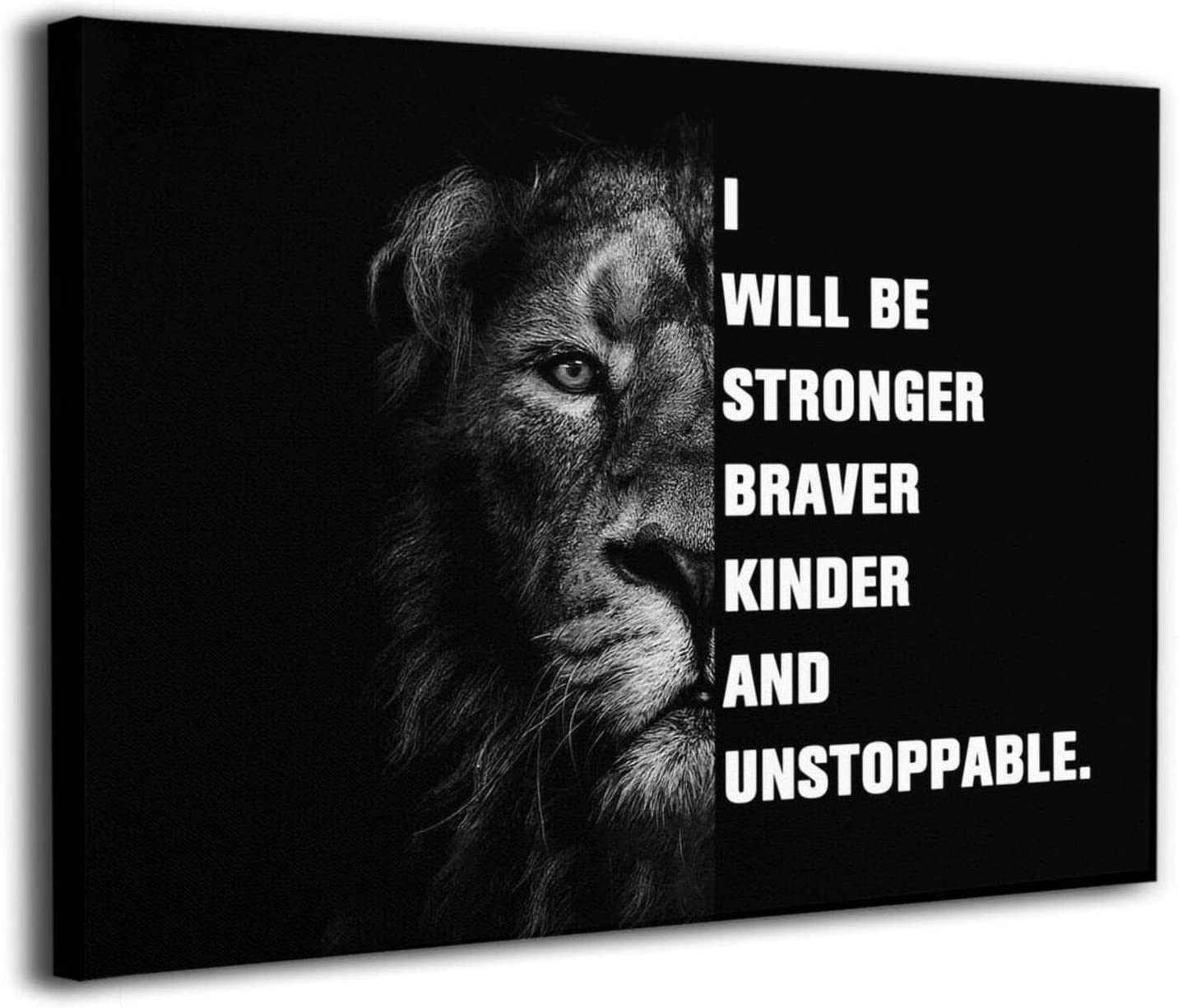 Sinlley Lion Inspirational Wall Art, Canvas Paintings Office Decor, 16x12 Inches Motivational Wood Framed Wall Decor Wall Decoration