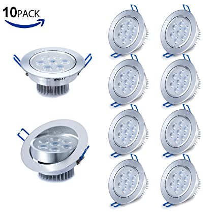 Liqoo Pack de 10 Focos Empotrable LED 7W Transformador Incluido Impermeable Luz de Techo Downlight Projector