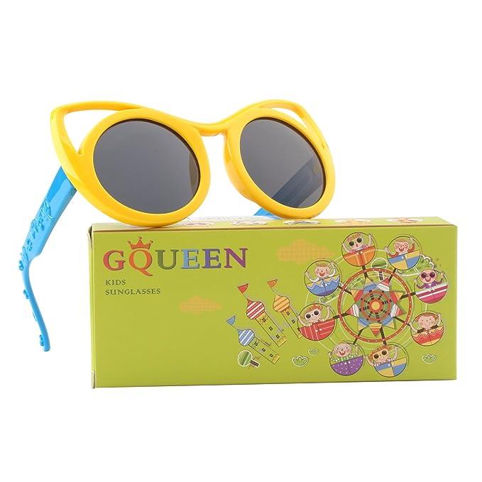 GQUEEN Gafas de sol polarizadas flexibles Ojos De Gato de goma para niños y infantes de