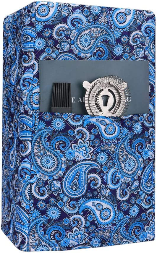 Quilted Blender Cover, Juice Cover, Kitchen & Dining Small Appliance Dust with Accessory Pocket Compatible with Ninja 1000 Watt Professional Blender-Paisley Pattern (Blue)