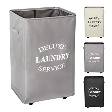WOWLIVE Large Rolling Laundry Hamper Basket Wheels Durable Dirty Clothes Bag Collapsible Rectangular Washing Bin (Grey)