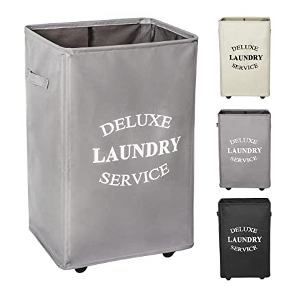 Amazon Com Wowlive Large Rolling Laundry Hamper Basket Wheels Durable Dirty Clothes Bag Collapsible Rectangular Washing Bin Grey Home Kitchen